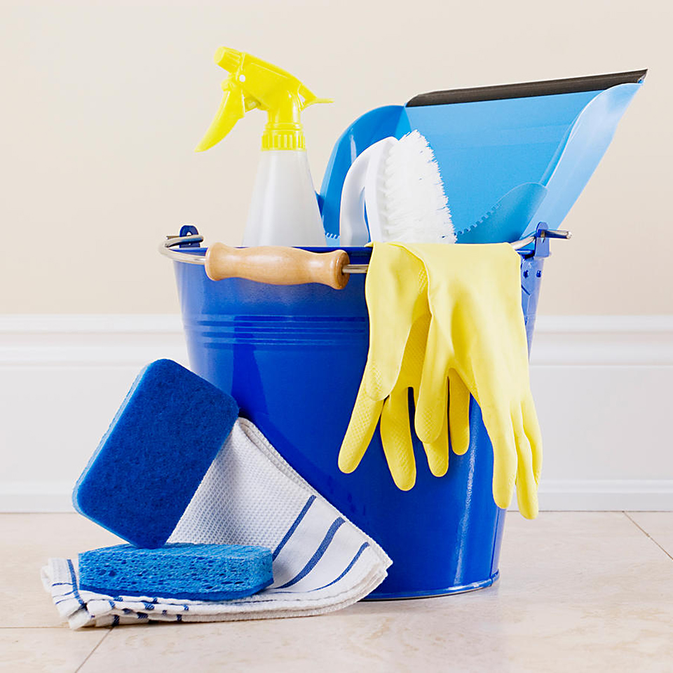 blue bucket with cleaning supplies