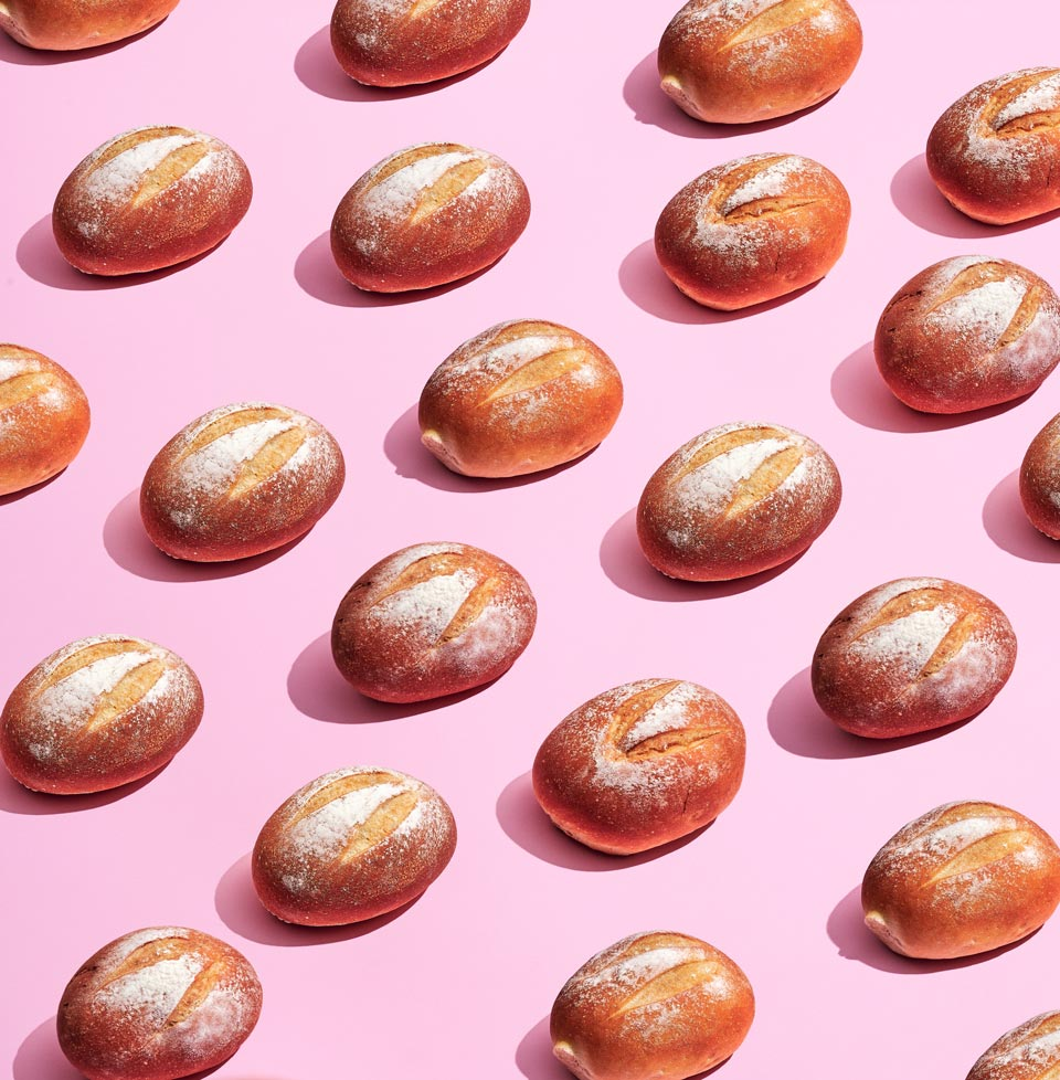 bread on pink background
