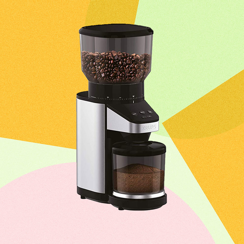 Krups Coffee Grinder on colorful background