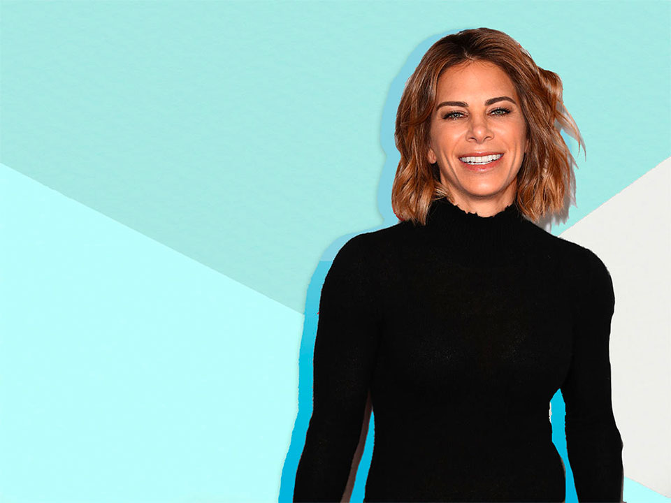 Jillian Michaels against a turquoise geometric background
