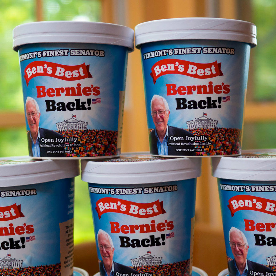 several pint sized containers of Ben's Best Bernie's Back! Bernie Sanders themed ice cream