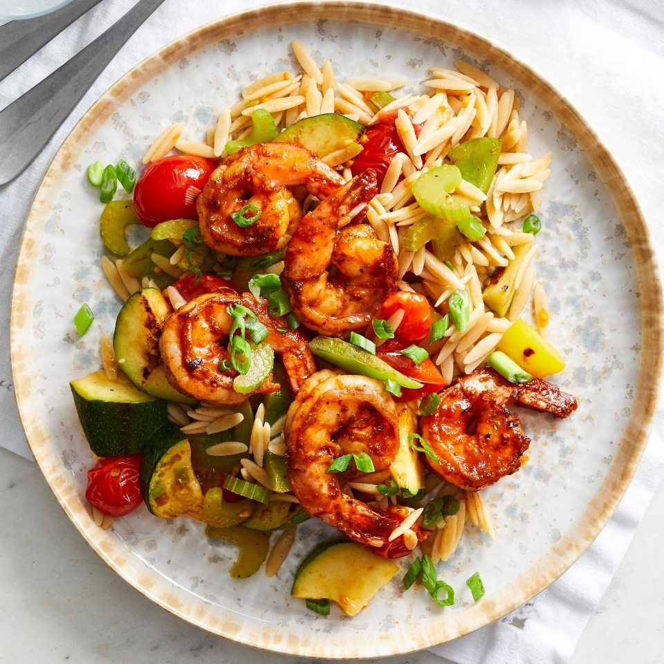 Peppery Barbecue-Glazed Shrimp with Vegetables and Orzo