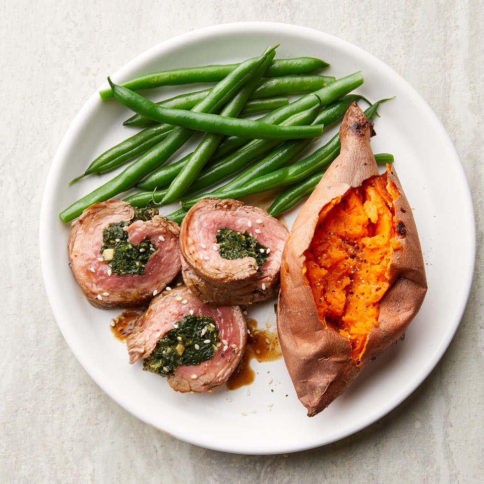 Sesame-Spinach Stuffed Flank Steak