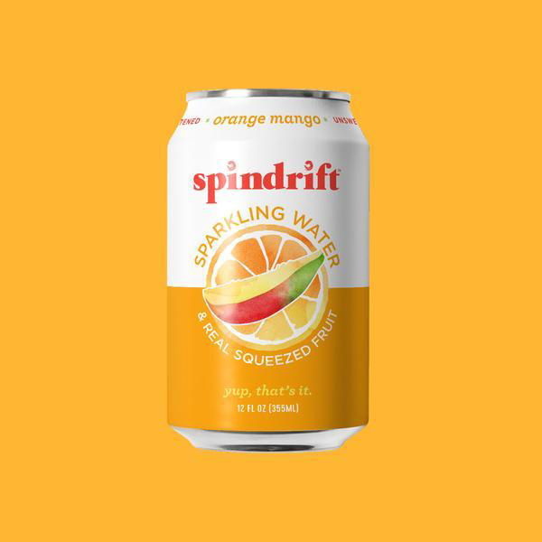 Spindrift Orange Mango on orange background