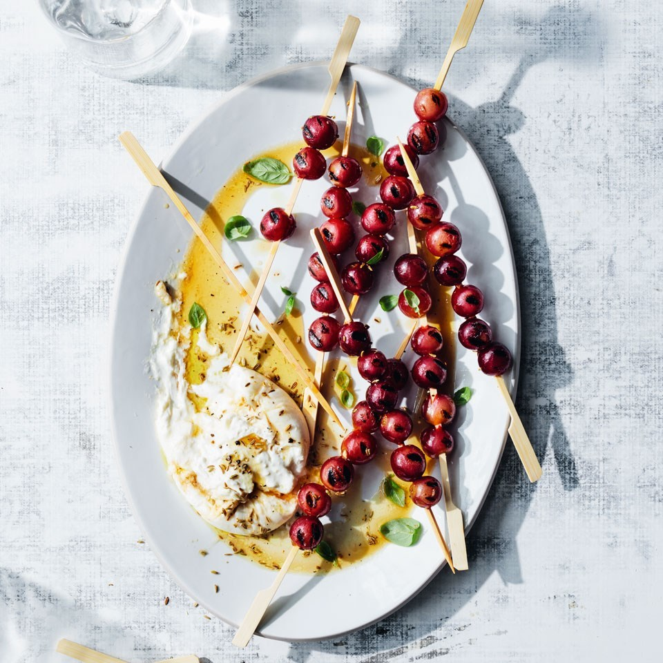Char-grilled Grapes with Burrata, Fennel Seeds & Basil