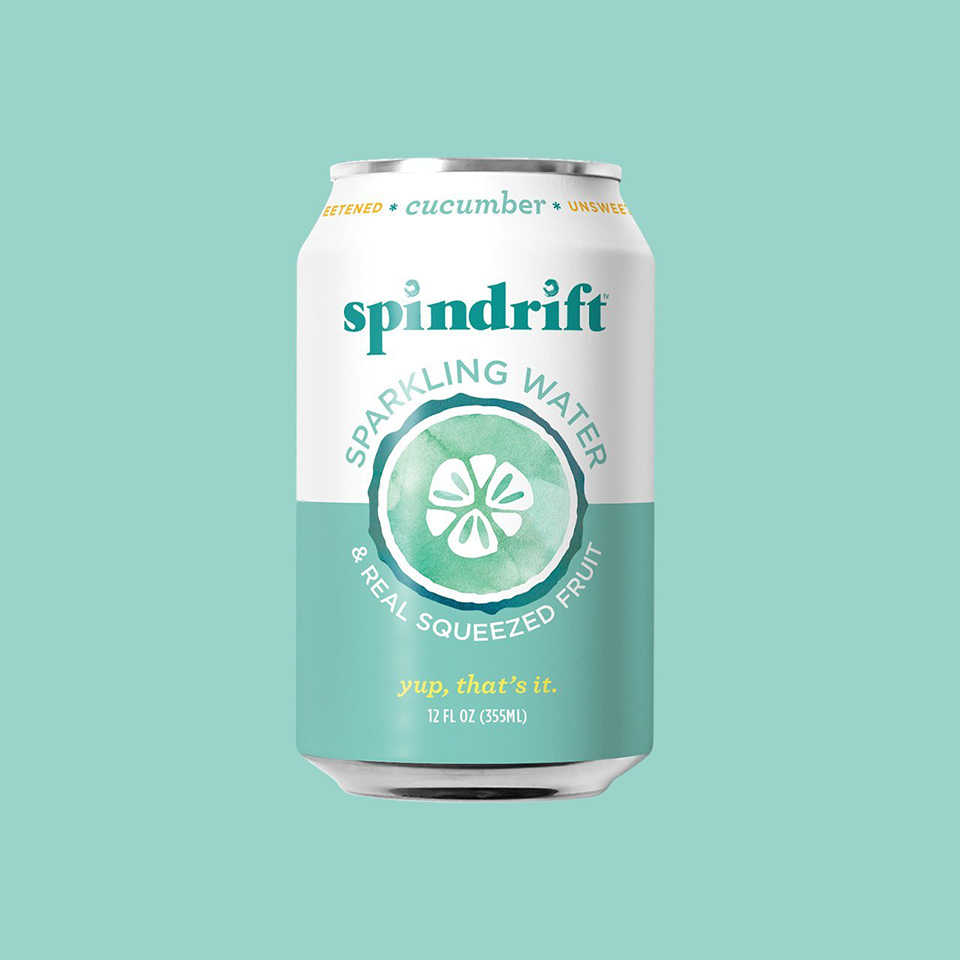 cucumber spindrift on green background
